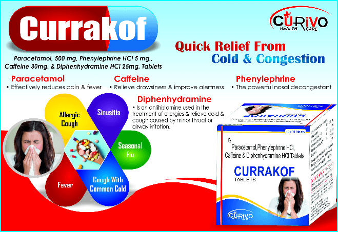 Paracetamol tablets, Phenylepherine HC tablets , Caffeine tablets, Diphenhydramine HCL tabletsPCD Pharma Franchise